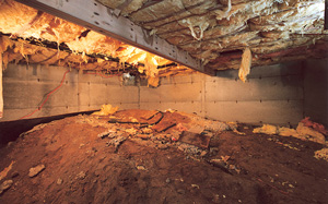 Crawl Space Moisture Barrier before in Indianapolis